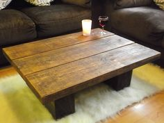 New Dark Solid Pine Wood Coffee Table Chunky Rustic Plank Low