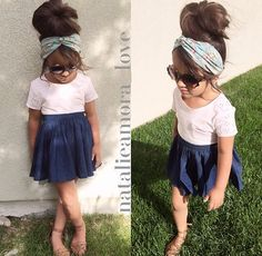 I hope August's hair grows out so I can do this. I love big buns and scarves tied on the head. I can even sew the scarves to and elastic piece to make it stay on better.