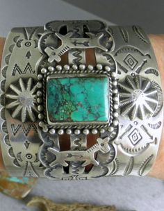 Big Wide Fred Harvey Dogs Horses Thunderbirds Turquoise Navajo Cuff Bracelet