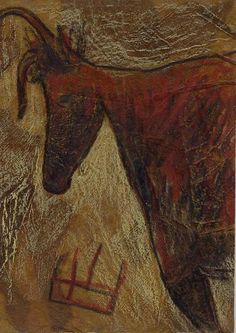 "ATC 453 ""Cow after Lascaux"" | Set made for the ""Petroglyphs … | Flickr Lascaux Cave Paintings, Atc, Moose Art, Artist, Artists"