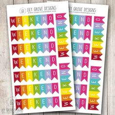 Rainbow Weekend Banner Set of 18  Plum Paper by lilygrovedesigns