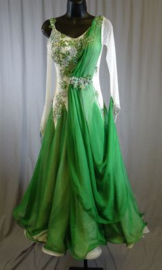Elegant White & Green Long Mesh Sleeves Ballroom Dress