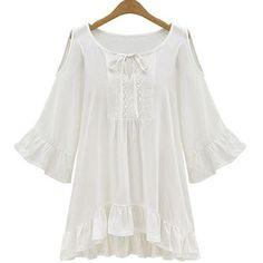 White Plain Drawstring Round Neck Sweet Cotton Blend Blouse