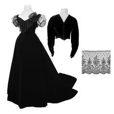 Court Gown (with Train) with Evening and Day Bodices of Wilhelmina von Hallwyl, Léon Sacré, W W. Ullberg & Comp.: 1865, Swedish, silk velvet, Chantilly lace.