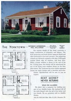 The Yorktown, Alladin Homes, 1953. I am so inspired by the trellises on each side of the house.