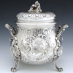 Antique French Sterling Silver Sugar Caddy