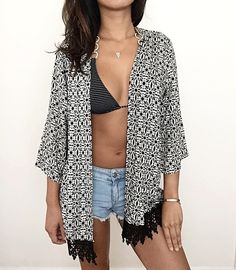 This Coachella Kimono Cardigan features beautiful black and white geometric floral design with black lace trim. -- Spring Summer Fall Winter Fashion. www.psiloveyoumoreboutique.com