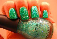 Green glitter nail polish