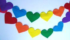 Rainbow Garland Felt Hearts Valentines Day Decor Banner Photo Prop on Etsy, $9.00