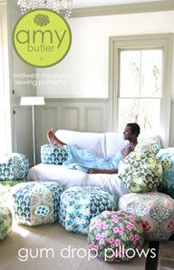 "Amy Butler Gum Drop Pillows Pattern Easy to make, yet dramatic in style. Large, comfy and cool pillows and even larger ottoman sizes. Eye candy for your home! Materials List FOR THE 24"" GUM DROP PILLO"
