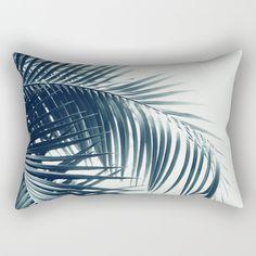 Palm Leaves Green Blue Vibes #3 #tropical #decor #art #society6 Rectangular Pillow by anitabellajantz | Society6
