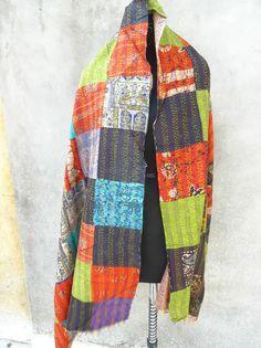 Vintage Kantha Scarf Cotton Sari Stole Women Shawl Hand Stitch Embroidered 102 #Handmade #Scarf