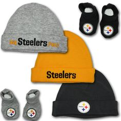 steelers baby clothes | ... steelers accessory kit includes three steelers infant knit hats and