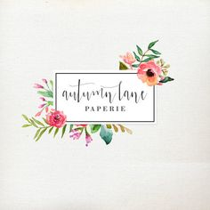 Premade Logo Design - Flower Frame Logo - Watercolor Flower Logo - Photography…