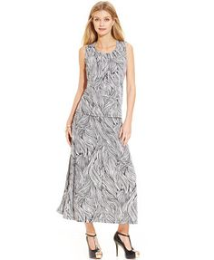 Kasper Pleated-Neck Printed Top & Knit Printed Maxi Skirt