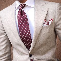 Men's Fashion | Menswear | Men's Outfit for Spring/Summer | Cream Suit Jacket, White Shirt, Burgundy Tie | Moda Masculina | Shop at designerclothingfans.com