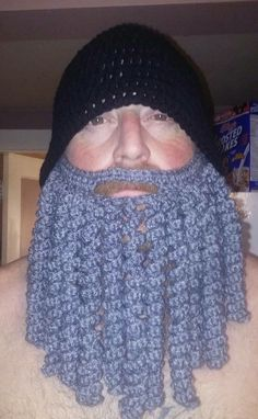 Hat with beard #crochet                                                                                                                                                     More