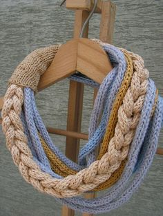 Beige Chain - infinity knitted necklace scarf neckwarmer multicolored for all…Knitting Necklace 2 days ago, I have been deep in thought while making a pattern, the latest time all looming and so much to do before the year's end. Yarn Necklace, Knitted Necklace, Knitting Projects, Knitting Patterns, Knitting Ideas, Spool Knitting, Knitting Scarves, Finger Knitting, Textile Jewelry