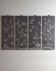 H6UX9 Four Bird & Vine Wall Panels