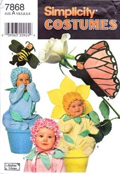 Simplicity Sewing Pattern 7868 Toddlers Sizes 1/2 - 4 Flower Bee Butterfly Costumes