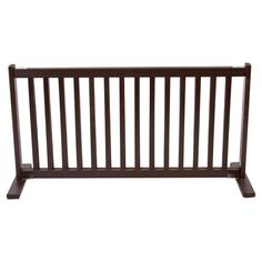 Keep your four-legged friend safe at home with this essential freestanding wood pet gate, featuring an adjustable design and mahogany finish.  ...