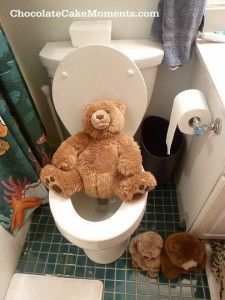 One of my favorite days of the year - April Fool's Day Prank for Kids - Stuffed animals lined up to use toilet