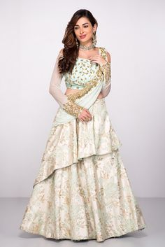 Abhilasha ~ Mint Green Lehenga Set With Attached Dupatta Indian Wedding Gowns, Indian Gowns, Indian Wear, Indian Outfits, Wedding Dress, Party Wedding, Lehenga Designs, Saree Gown, Anarkali Dress