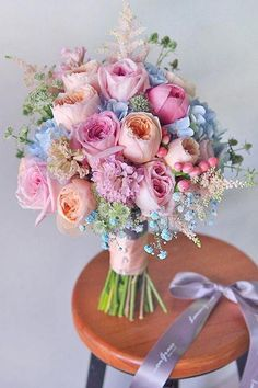 38 Ideas For Flowers Wedding Bouquet Pastel Floral Arrangements Bouquet Pastel, Bridal Bouquet Blue, Peony Bouquet Wedding, Wedding Flowers, Blue Bridal, Bouquet Flowers, Floral Wedding, Pastel Flowers, Rainbow Bouquet