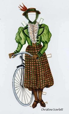 Estelle, a sporty Victorian lady, paper doll by Sandy Vanderpool, bicycle dress by Christine Scarlett (5 of 5)