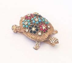 Ciner Pin or Brooch Turtle Turquoise Rhinestone by OurBoudoir