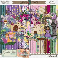 """Rapunzel, Rapunzel, let down your hair so that I may climb the golden stair"" Growing Pains Scrapped and Mommy Me Time Scrapper have teamed up again to bring you this 'Enchanting' kit, which is based on a  Disney Princess and the Brothers Grimm fairy tale Rapunzel. Full of pretty princesses and castle elements, Enchanted is sure to help you scrap all the fairy tale moments in your life."