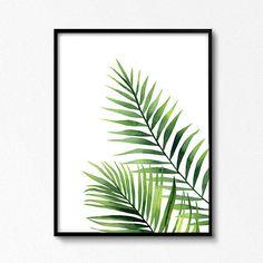 Watercolour leaves. Palm leaves watercolour. Tropical plant.