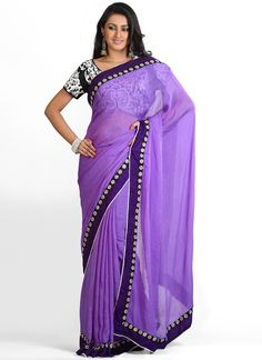 Vibrant Purple Pure Chiffon Saree