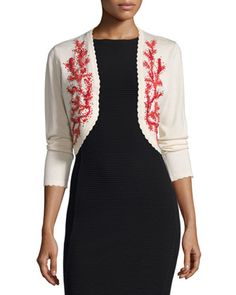 Long-Sleeve Embroidered Bolero, Ivory by Carolina Herrera at Neiman Marcus.