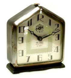 "Antique Ingraham ""THE GABLE"" 8 Day Deco Alarm Clock"