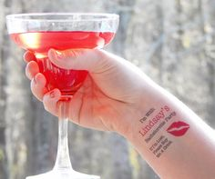 10 Bachelorette Tattoos - Bachelorette Party Temporary Tattoos - PINK LIPS - FREE Matching Bride Tattoo - If I'm Lost, Please Buy Me A Drink by SymbolicImports on Etsy https://www.etsy.com/listing/217998491/10-bachelorette-tattoos-bachelorette