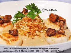 Noix de Saint-Jacques, crème de châtaignes et girolles
