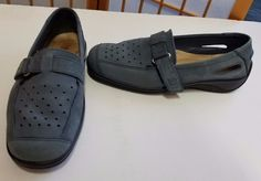 53511acfc34a Hotter Comfort Concept Shoes Womens Size 6 Nubuck Leather Teal Loafers