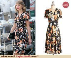 Taylor Swift's Black and orange floral cross front dress. Outfit Details: http://wwtaylorw.com/3022