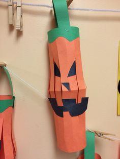 Construction paper pumpkin hanging