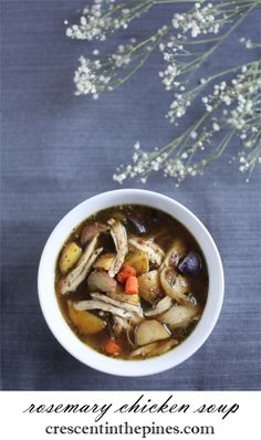 Rosemary Chicken Soup with Roasted Root Vegetables & Caramelized Onion. Gardening Photography, Roasted Root Vegetables, Rosemary Chicken, Caramelized Onions, Chicken Soup, Bright Green, Beef, Drinks, Recipes