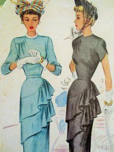 Vintage McCall 7345 1940s Dress Pattern Draped by sewbettyanddot. Wow, so much Bizazz!