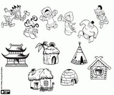Resultado de imagen de dibujos para colorear la vuelta al mundo