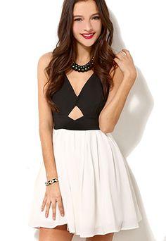 Black And White Crossback Bowknot Low Cut Tank Dress SF01JL