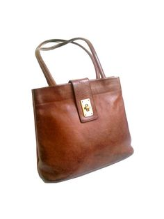 FRENCH LEATHER BAG tan leather 70s zacoci paris by lesclodettes, $65.00