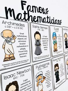 Mathematicians Posters Famous Mathematicians posters for high school math classroom decor.Famous Mathematicians posters for high school math classroom decor. Math College, Math Classroom Decorations, Decorating High School Classroom, Maths Classroom Displays, Maths Display, Classroom Ideas, Math Bulletin Boards, Classroom Board, Math Lab