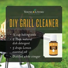 DIY Grill Cleaner!   1/4 cup baking soda 2 Tbsp natural dish detergent 5 drops Lemon essential oil Distilled White Vinegar This DIY grill cleaner is on point. We love it almost as much as we love #grillingseason! Just mix the first three ingredients, then add vinegar until it has the consistency of olive oil. Brush onto your grill and wait 15-30 minutes. Scrub with a damp scouring pad or grill brush and rinse with water!!  www.thewelloiledlife.com/premiumkit
