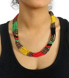 African Zulu beaded short necklace – Rasta colours - Gift for her African Necklace, African Jewelry, Indian Jewelry, African Beads, Beaded Earrings, Beaded Jewelry, Beaded Bracelets, Short Necklace, Necklace Lengths