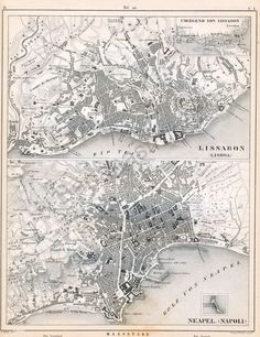1851 German Vintage Map of Lisbon Portugal and by bananastrudel