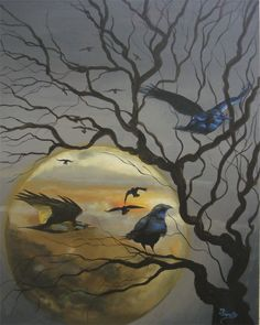 "This is Titled ""Raven's Eve"", a 16"" x 20"" acrylic, on Art Board"